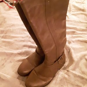 Flat Brown Leather Boots 👢 Up To Knee